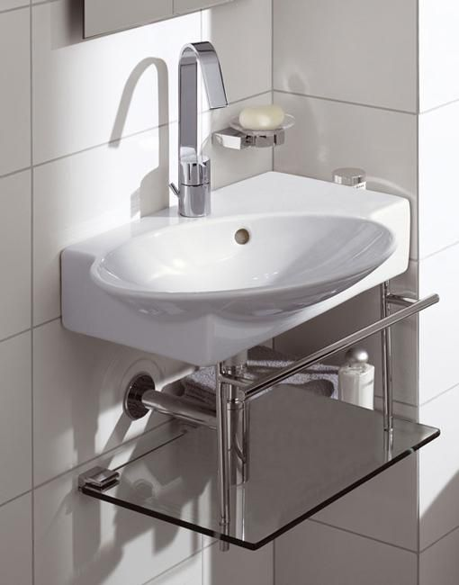 bathroom sinks for small spaces | Oval bathroom sink with glass shelves for small bathroom design