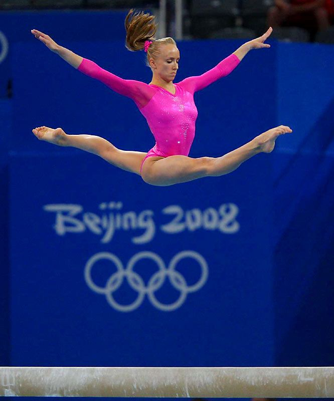 Nastia Liukin permorming on the balance beam at All Around finals in Beijing 2008 / I love this pic