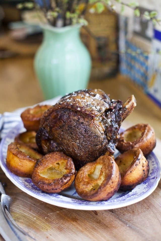 Roast Rib Of Beef with Batter Puddings (Irish version of Yorkshire puddings)