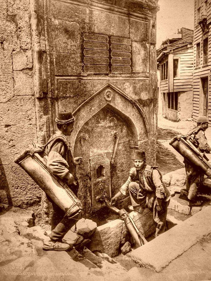 Water bearers. Saliha Sultan Fountain in Azapkapi, İstanbul, c. 1890-1900.