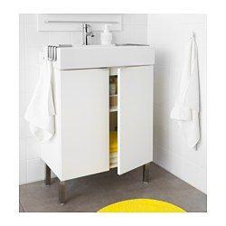 IKEA - LILLÅNGEN, Kastje voor onder wastafel 2 deuren, wit, 60x41x92 cm, , Door z'n vorm kan de rand worden gebruikt als planchet voor een zeepje of een tandenborstelbeker.
