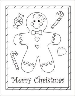 Christmas coloring cards for kids - printable free coloring cards - gingerbread boy - gingerbread man - Christmas coloring pages