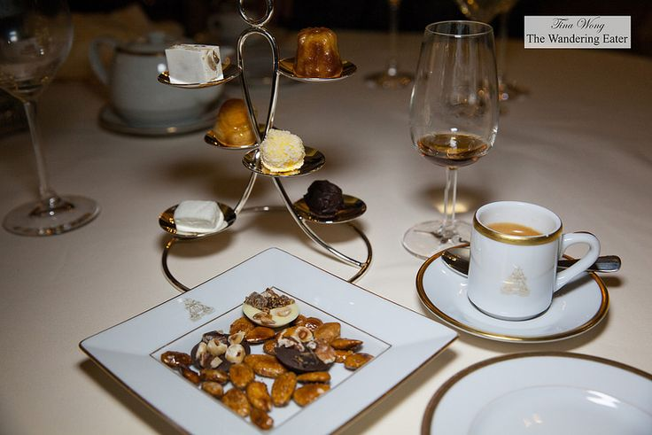 My double espresso, Blandy's 5 Year Old Bual Madeira, and mignardises- caramelized almonds and chocolate mendiants, nougat, housemade bonbons, Canelé - Tina Wong