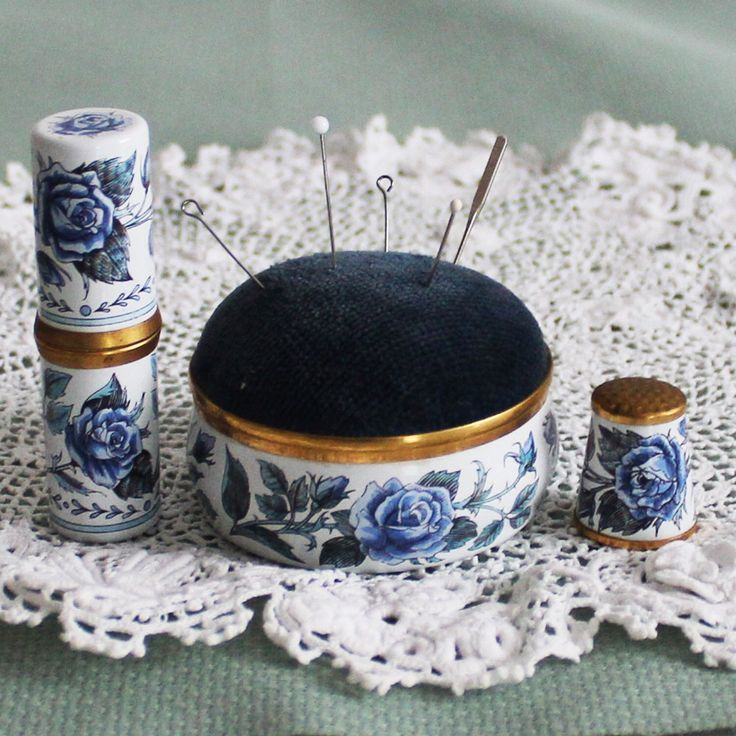 Vintage set of enamel pincushion, thimble and needle case from Crummles & Co. Rare and highly collectible! Best Christmas gift for a crafter!