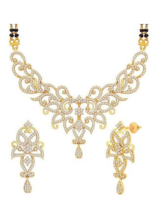 White Stone Studded Mangalsutra with Earring