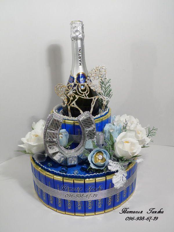 Букеты и композиции из конфет в Киеве » Blog Archive » Композиция из конфет «Серебрянная подковка»