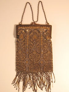 Stunning 1920's Vintage Gold and Silver Tone Mesh Flapper Purse Bag -France