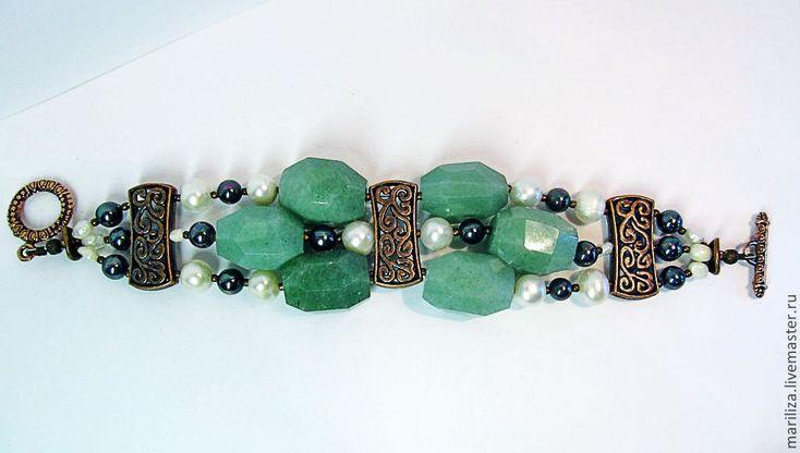 Bracelet Medea (nephrite and pearls)