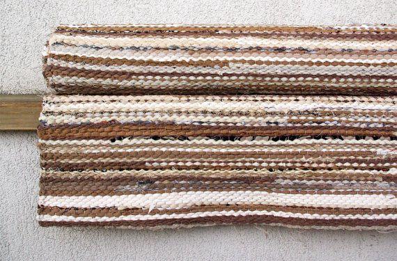 Hand woven Rag Rug  beige light brown white 325' x 764' by dodres, $104.00