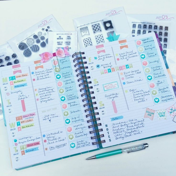 New Studio L2E stamps in the Inkwell Press Flex Planner