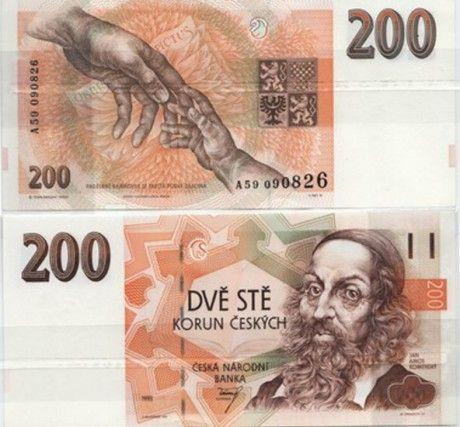 I Česká koruna to přiznává. Výborně to jde vidět na dvoustovce, kde J.A. Komenský hlídá bezednou šestihrannou díru, naznačenou na pozadí. Na druhé straně bankovky vidíte spojené ruce, což je symbolické vyjádření mostu: Pět tisíc zase hlídá hlava T.G. Masaryka, nalevo od něj je krásná velká díra, kam padají vaše peníze, když touto dírou platíte. Symbolika mostu je vzadu naznačená mírně pouhými liniemi: