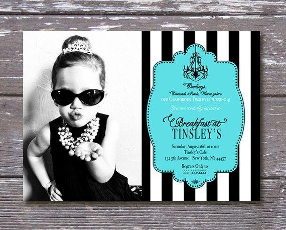Printable Breakfast at Tiffany's Birthday by PartyPrincipessa, $14.00 Tiffany and Co. Birthday Invitation