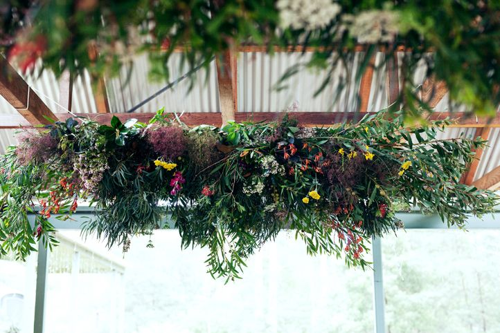 "LETTUCE & CO - STYLE. EAT. PLAY 'outback engagement"" country side engagement party. native florals foliages hanging installation. suspended installation. concept design and event styling by lettuce & co."