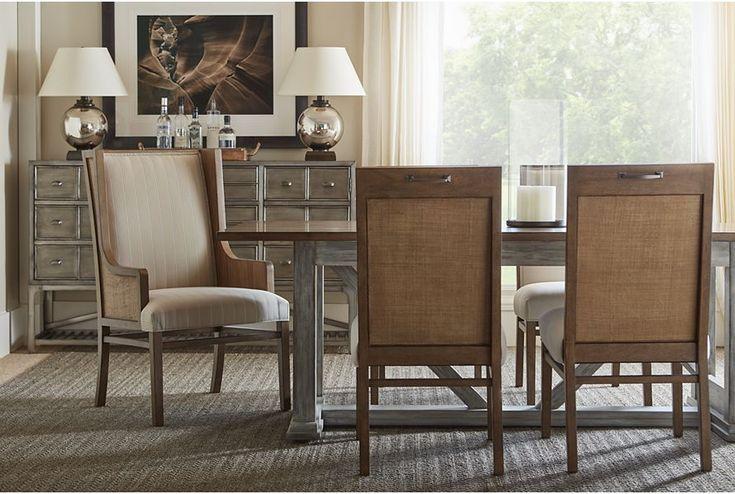 *Столовая коттедж в Монтауке обеденный стол Козелок(hickory и Выдержанную в серых тонах)