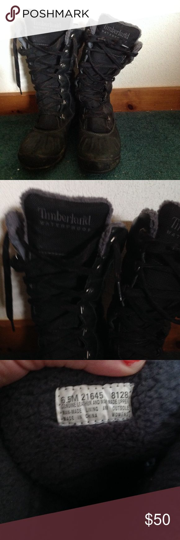 Timberland Boots These are AMAZING boots! Extremely warm and comfy inside. No flaws, just some winter dirt on them. Genuine leather. Timberland Shoes Winter & Rain Boots