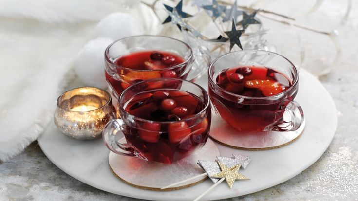 Mocktail made with grape juice, cranberry and festive spices