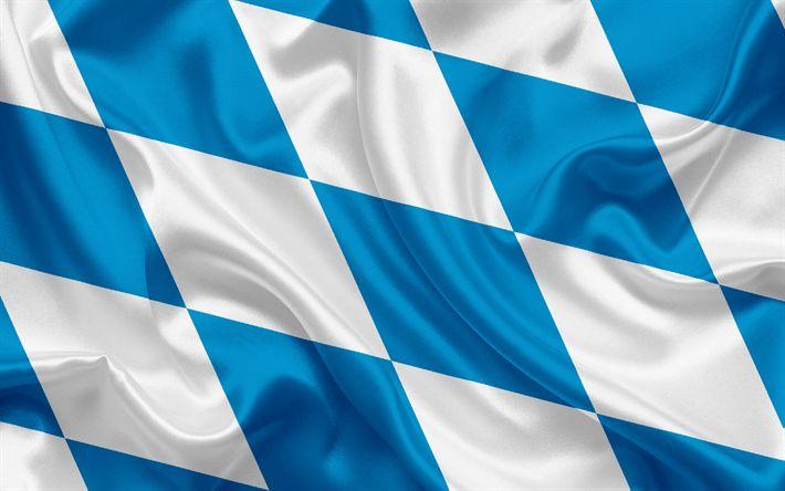 Herunterladen hintergrundbild flagge bayern, land deutschland, flaggen der deutschen länder, bayern, bundesländer, seide, fahne, bundesrepublik deutschland