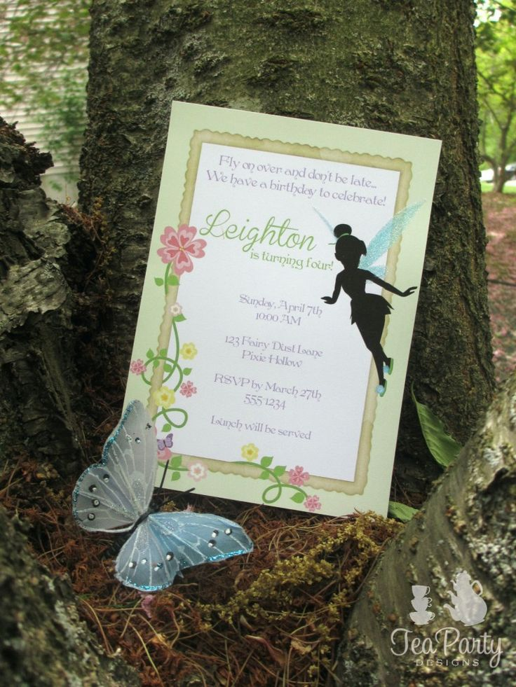 Tinkerbell Garden Fairy Party Invitation -Tea Party Designs