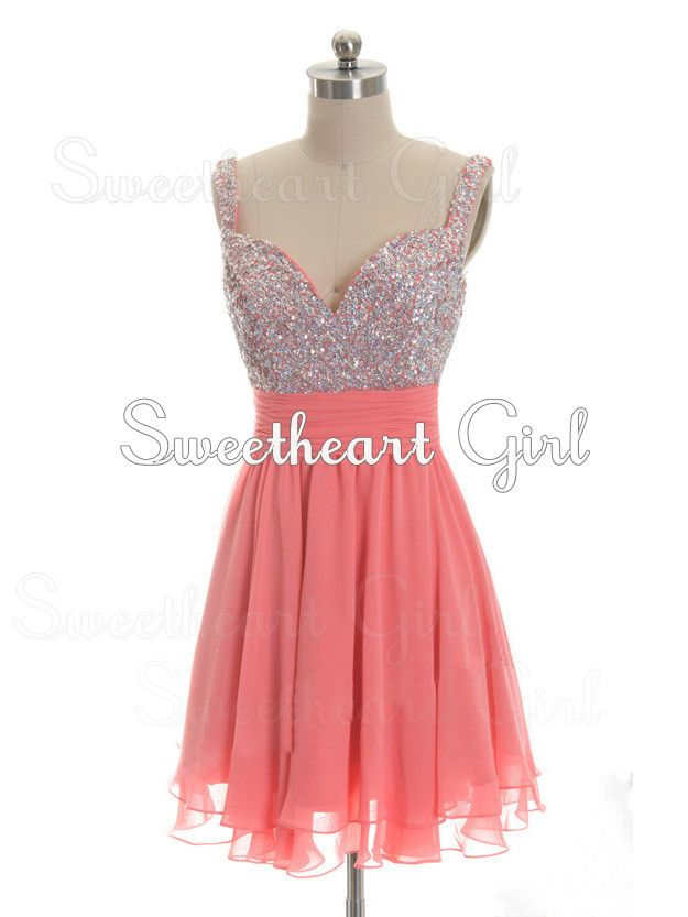 Processing time: 17 business days   Shipping Time: 7-10 business days    Silhouette: A-line   Neckline: Spaghetti straps   Waist: Natural   Hemline/Train: Mini   Sleeve Length: Sleeveless   Embellishments: Beadings   Fabric: Chiffon   Shown Color: Pink