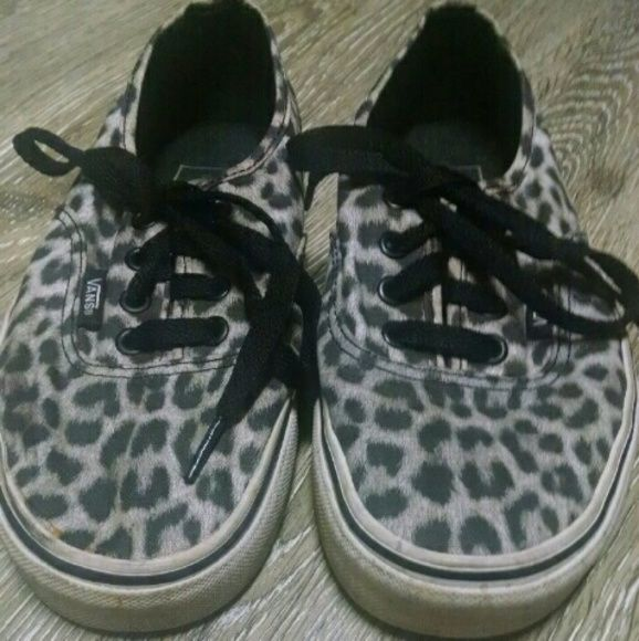 New items! Leopard Vans Grey , black + white leopard vans. Only sign of wear is on insoles (pictured) but can most likely be cleaned up. Vans Shoes Sneakers