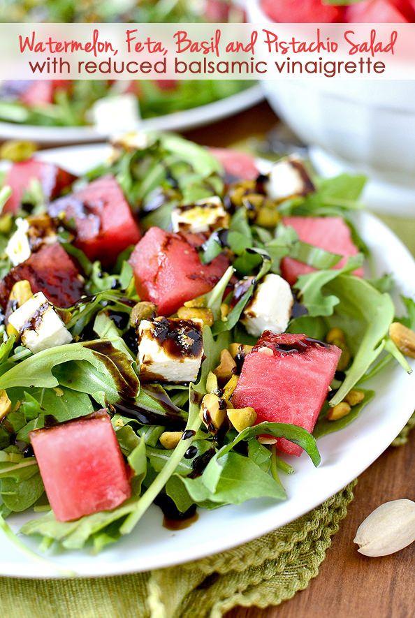 Watermelon, Feta and Pistachio Salad with Reduced Balsamic Vinaigrette
