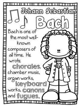 BAROQUE COMPOSERS COLORING AND FACT SHEETS - TeachersPayTeachers.com