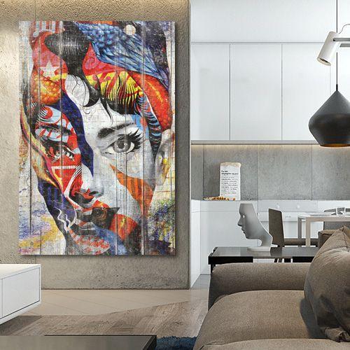 Tableau bois portrait abstrait street-art