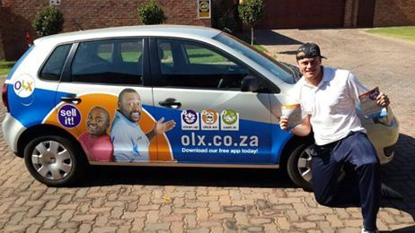 "Chris: ""Amped to hit the road in my newly branded vehicle. Think its time to ""SELL IT!"" With OLX South Africa and Brandyourcar.com"""