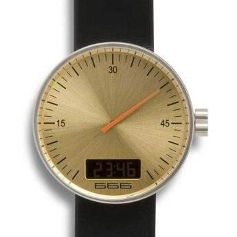 Reloj 666 Barcelona Digital de Acero, Esfera Dorada con Segundero Naranja y correa de piel antialérgica negra  http://www.tutunca.es/666barcelona