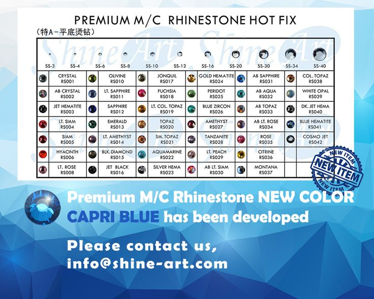 Let me introduce our New Color in Premium M/C Rhinestone Hot Fix, Capri Blue color!  Please contact us if you have any inquiry or questions.
