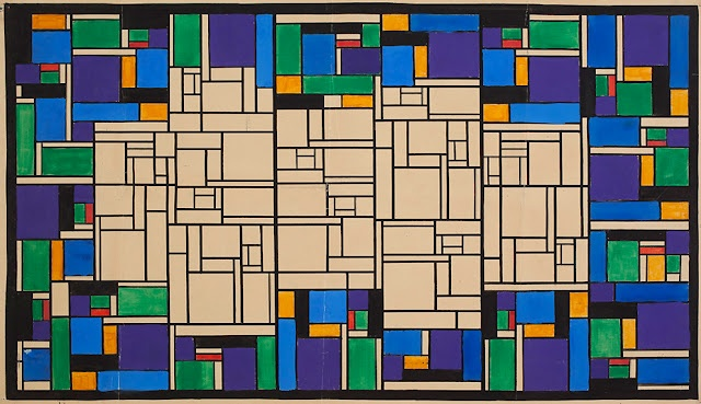 """Stained Glass Study"" by Theo van Doesburg, 1917.  He was the founder of De Stijl."