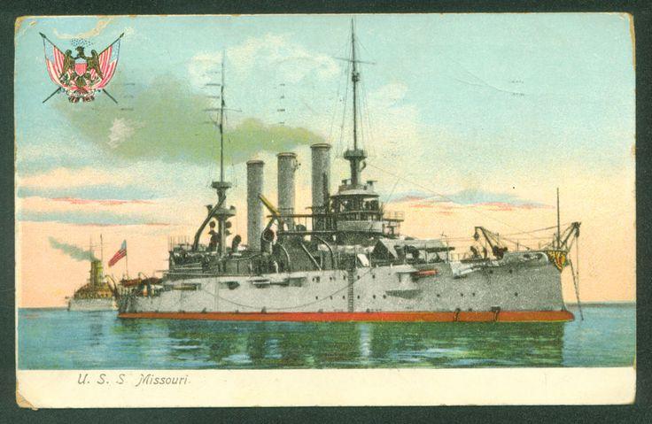 USS MISSOURI BB-11 Battleship WWI World War I US Navy Military Ship UDB Postcard