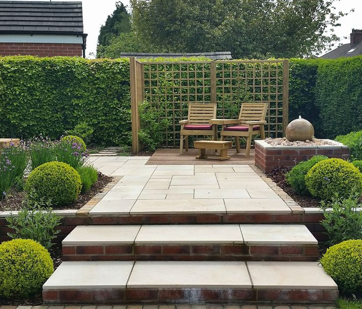 #gardendesign #englishgarden #patio #decking #waterfeature #plants #boxballs #trellis #climbingplants #paving