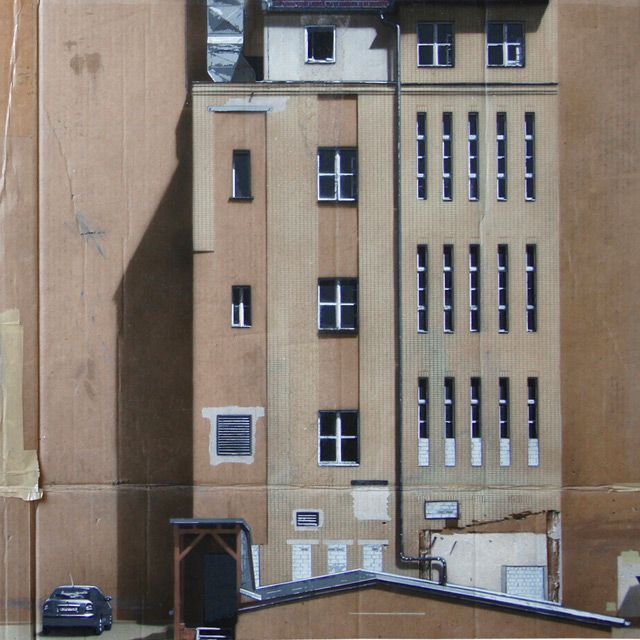 German street artist EVOL is currently showing a number of new pieces at Jonathan LeVine gallery. The new works feature urban facades spray painted with the use of stencils on flat sheets of cardboard.