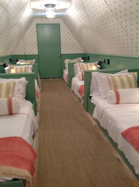 For my grandchildren some day. The attic doesn't have to be creepy or boring, all you have to do is make it a sleepover/ slumber party room – looks like the bedroom in Madeline @ Home Design Pins