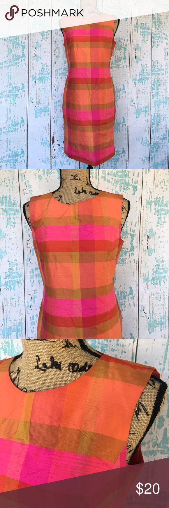 Liz Claiborne linen block color plaid like dress Liz Claiborne linen block color plaid like dress size 4 Liz Claiborne Dresses Midi