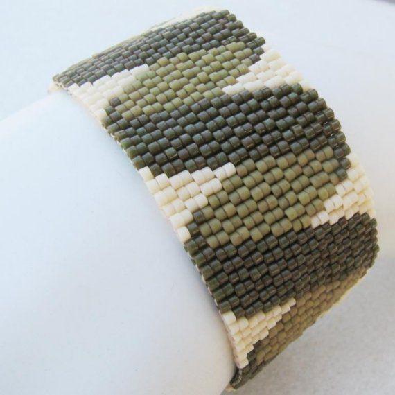 Olive Twisted Ribbon Peyote Cuff Bracelet 2458 A by SandFibers, $45.00