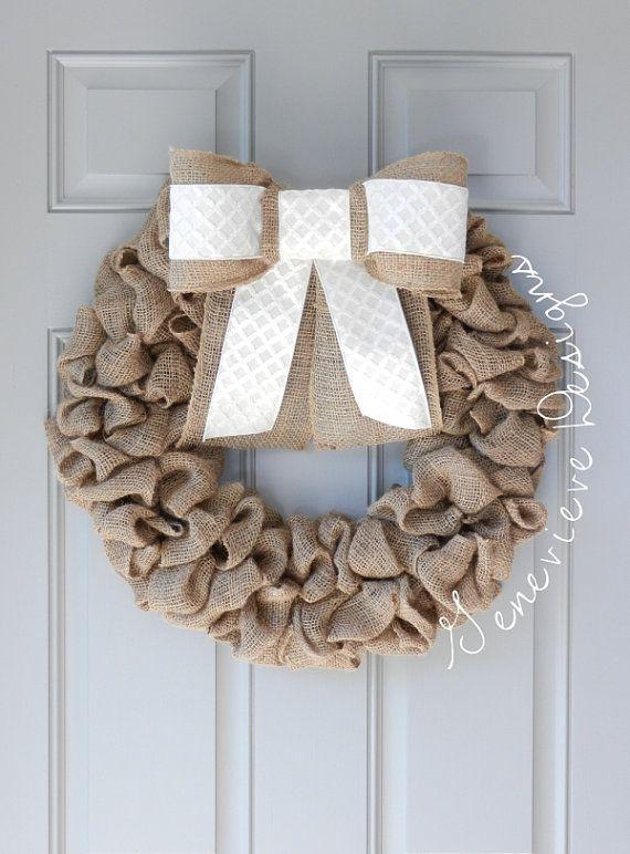 Centered Burlap Bow Wreath - Rustic Wreath, Front Door Wreath, Summer Wreath, Hospital Wreath, Wedding Wreath, Bubble Burlap Wreath