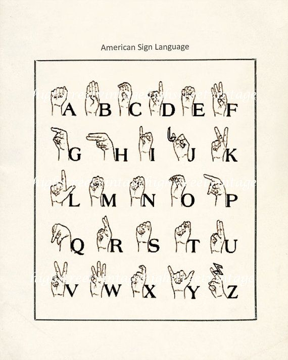 Poster  American Sign Language Illustration by HighStreetVintage, $15.00