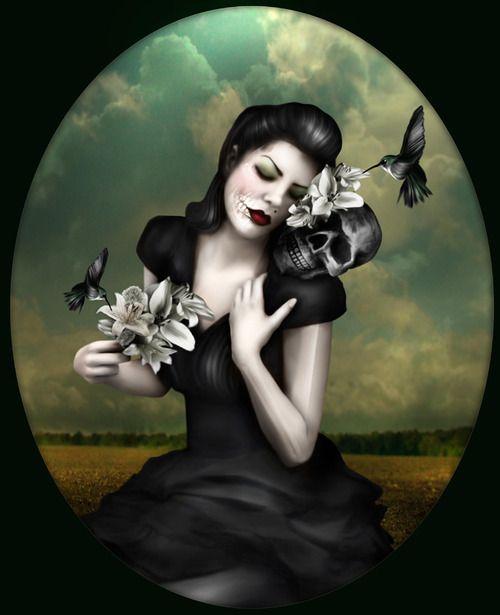 Skulls:  #Skull-faced woman with skull.