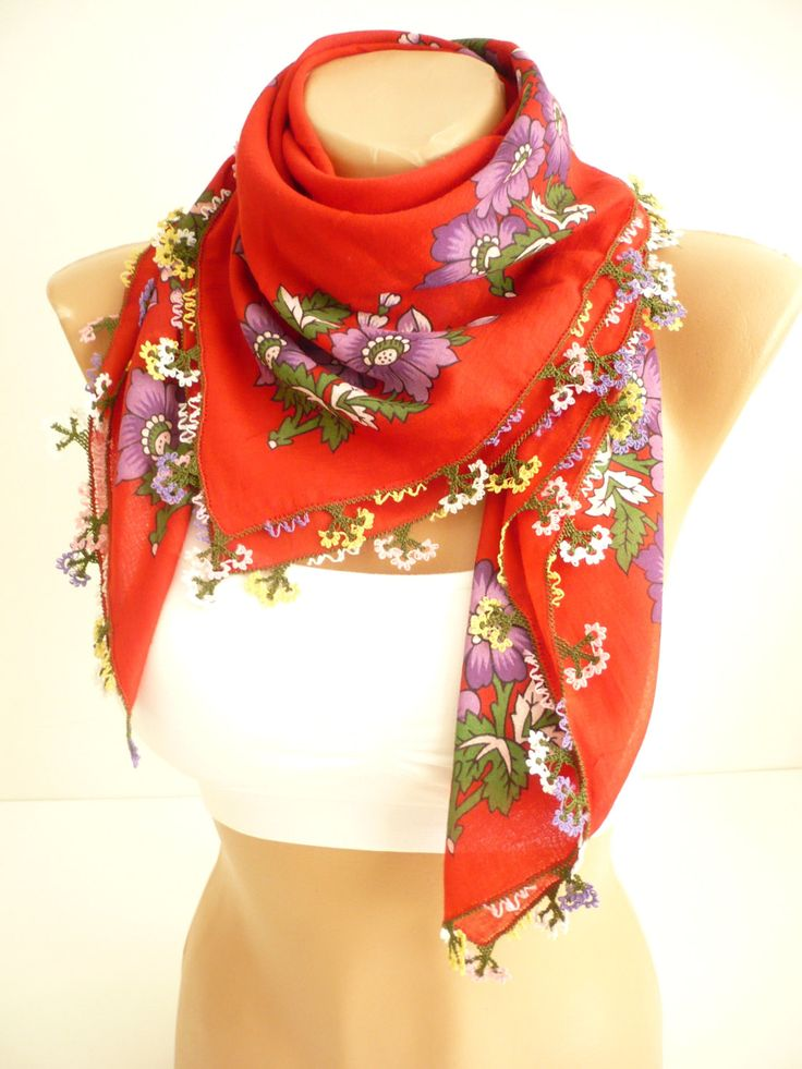 Turkish needle laced scarf / Handicraft vintage red scarf / organic cotton red foulard / floral hand-printed laced kerchief / gift for her by TurkishAccessories on Etsy