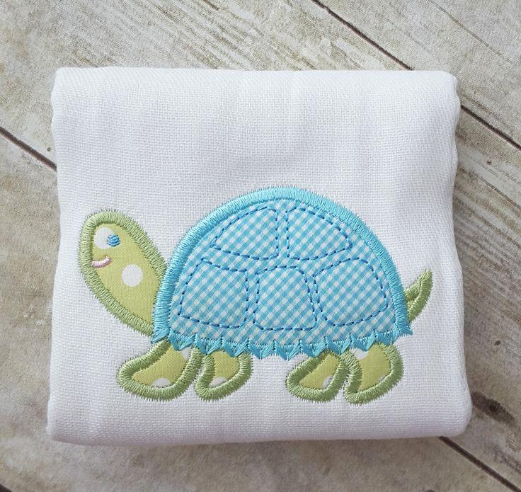 Turtle Applique Burp Cloth by 3 Marthas