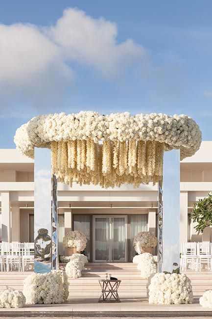 Stunning modern and chic floral wedding ceremony arbor backdrop - Jeff Leatham Gallery