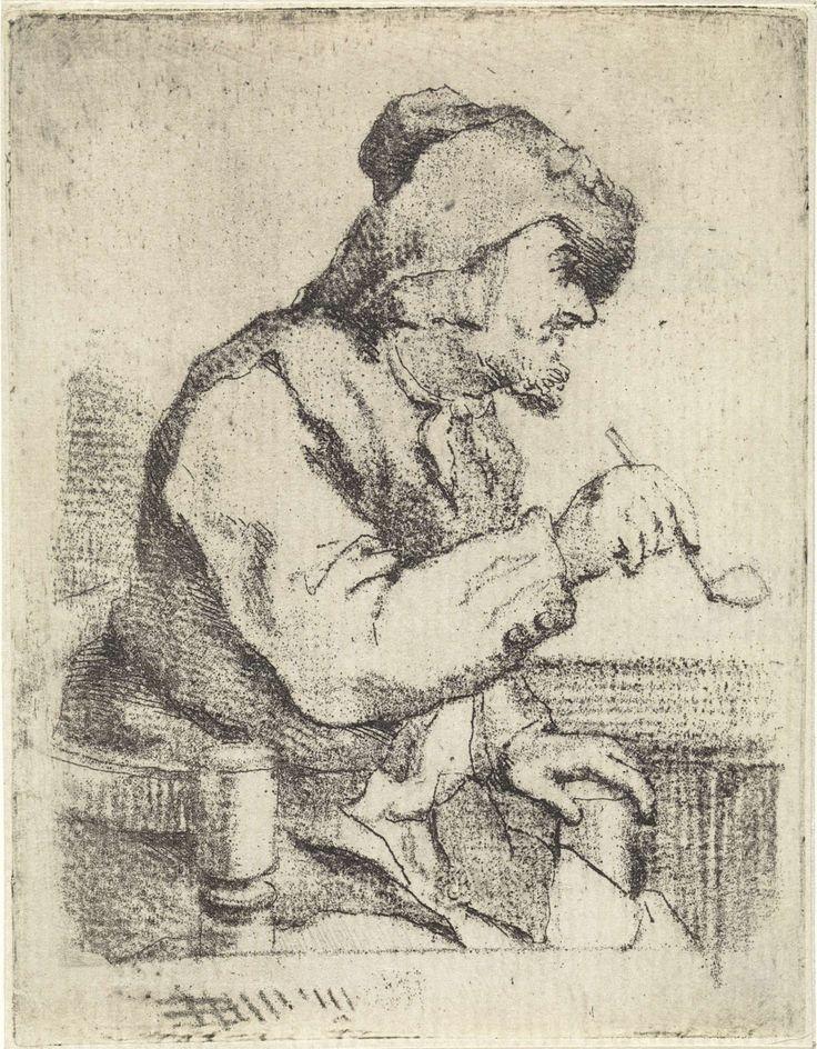 Aert Schouman | Man met een pijp, zittend aan tafel, Aert Schouman, 1767 |