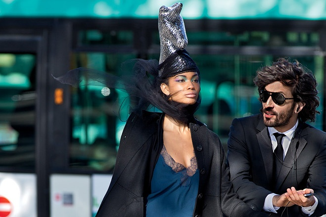 Some Kind of Wonderful - christian dior coat $4,800, dress $5,400, boots $1,800 and clutch $2,250. haider ackermann shirt (worn as cape) $900. christophe coppens hat, by special request. heather huey headband $98. on him: hugo tuxedo $950, tuxedo shirt $145 and tie $95