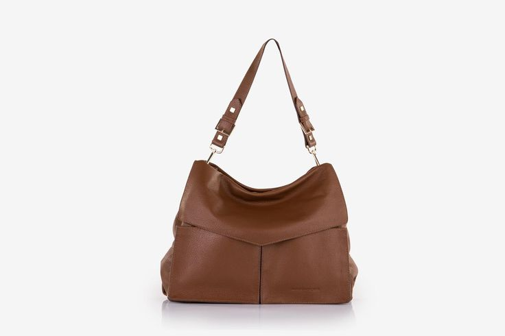 Minerva in nut brown pebbled calf leather - Front view.