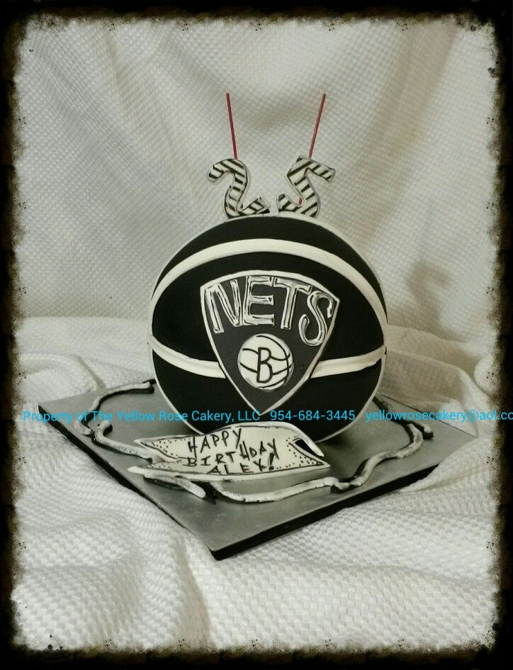 Birthday Cakes Brooklyn ~ All edible brooklyn nets b ball cake theyellowrosecakery the yellow rose cakery board