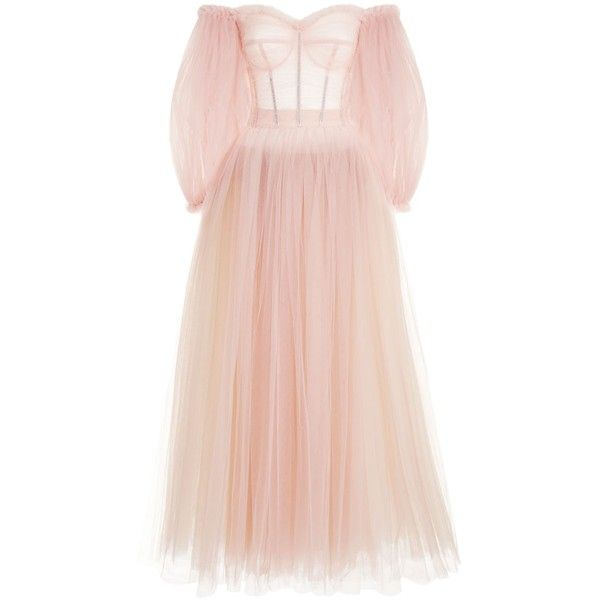 Dolce & Gabbana Gathered Tulle Gown ($9,250) ❤ liked on Polyvore featuring dresses, gowns, sequined dress, long pink skirt, sequin evening gowns, pink ball gown and sequin gown
