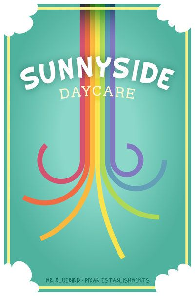 Sunnyside Daycare ~ Toy Story 3 (2010) ~ Minimal Movie Poster by Mario Graciotti ~Pixar Establishments #amusementphile