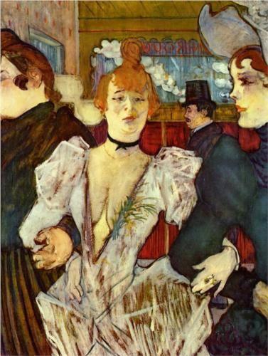 La Goulue Arriving at the Moulin Rouge with Two Women - Henri de Toulouse-Lautrec